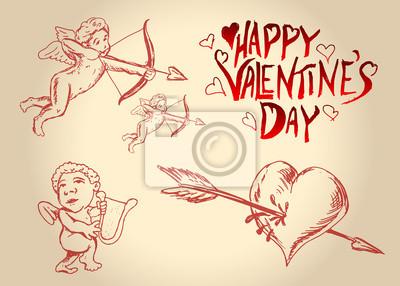 Vector mit Valentine Motive eingestellt
