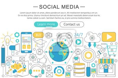 Bild Vector Moderne Linie Flache Design Social Media Konzept. Social Media  Icons Website Header,
