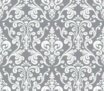 Bild Vector. Nahtlose eleganten Damastmuster. Grau und Weiß