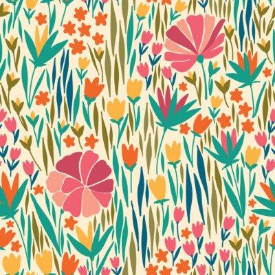 Bild Vector nahtlose Muster mit Sommerblume. Es kann für Desktop-Tapeten oder Rahmen für eine Wand hängen oder Poster, für Muster füllt, Oberflächenstrukturen, Web-Seite Hintergrund, Textil und vieles mehr