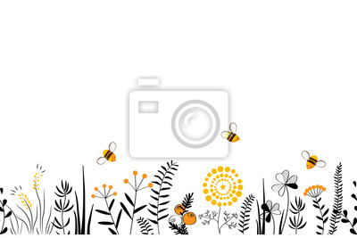 Bild Vector nature seamless background with hand drawn wild herbs, flowers and leaves on white. Doodle style floral illustration.