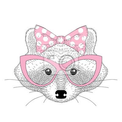 Vector Niedlichen Waschbär Mädchen Porträt Mit Katze Augen Brille