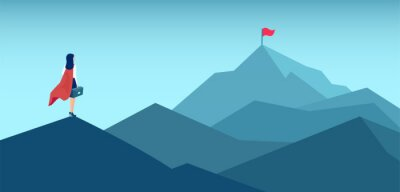 Bild Vector of a super woman looking at her goal, mountain with flag on the top