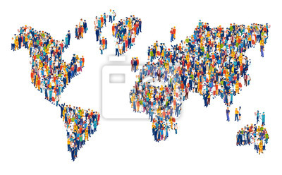 Bild Vector of crowd of multicultural people composing a world map