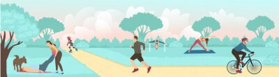 Bild Vector of people exercising outdoors in the park, running, cycling and practicing yoga