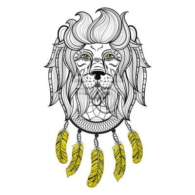 Vector Ornamental Löwe Mit Dreamcatcher Ethnischen Gemusterten