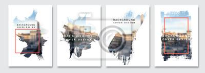 Bild Vector paint brush clipping masks for flyer, presentation, brochure, banner, poster design. City blur background.