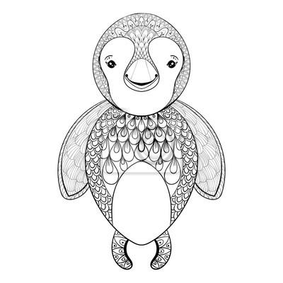 Vector Pinguin Für Erwachsene Färbung Seite Hand Gezeichneten