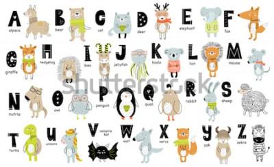 Bild Vector Plakat mit Buchstaben des Alphabets mit Karikaturtieren für Kinder in der skandinavischen Art. Handgezeichnete Grafik Zoo Schriftart. Perfekt für Karten-, Etiketten-, Broschüren-, Flyer-, Seite
