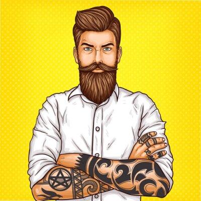 Bild Vector Pop Art Illustration eines brutalen bärtigen Mannes, Macho mit Tattoo faltete seine Arme über seine Brust