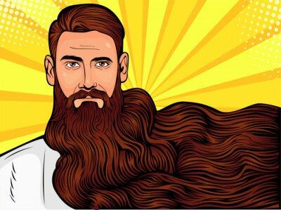 Bild Vector pop art illustration of a brutal bearded man, macho with very long beard over all image