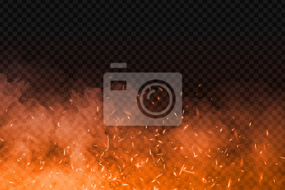 Bild Vector realistic isolated fire effect with smoke for decoration and covering on the transparent background. Concept of sparkles, flame and light.