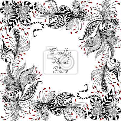 Bild vector red, black and white floral pattern