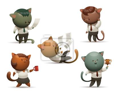 Vector Reihe Von Katzen Im Buro Cartoon Bild Von Funf Lustigen