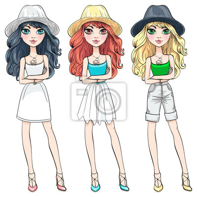 Bild Vector Reihe von schönen modischen Mädchen in Hüte mit langen lockigen Haaren