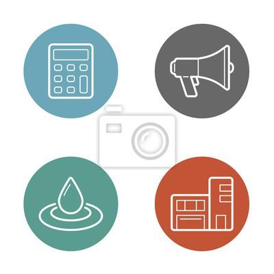Bild Vector Round Circle Buttons mit Icons können als Logo oder Icon verwendet werden