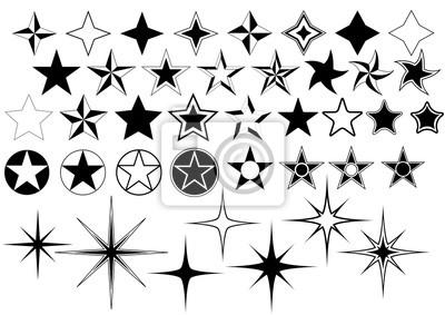 Bild Vector Sammlung von Star auf weißen Hintergrund isoliert