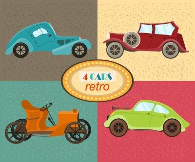 Bild Vector Satz von vier Retro-Autos. Städtische Verkehrsmittel. Ikonen, die moderne und retro Automobile kennzeichnen, altmodisches Weinleseauto. Mehrfarbige Retro-Autos. Isoliert. Abbildung