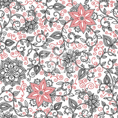 Bild vector seamless black and red floral pattern