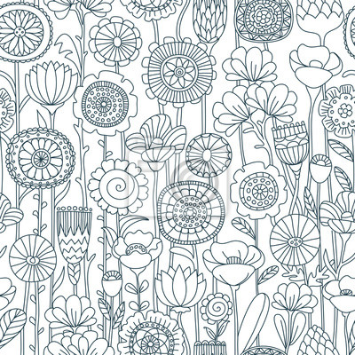 Bild vector seamless black and white floral pattern