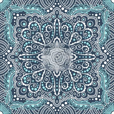 Bild vector seamless blue pattern of spirals, swirls, chains