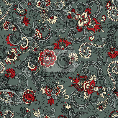 Bild vector seamless gray and red floral pattern