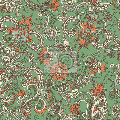 Bild vector seamless green and orange floral pattern