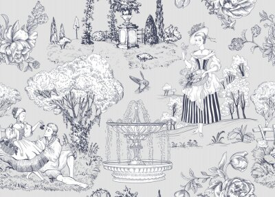 Bild Vector seamless pattern Toile de Jouy. French provence wallpaper. Light nature background. Digital paper provence style. Vector pattern. Decoupage vector pattern, elegant life, love, people.