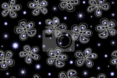 Bild Vector seamless pattern with fantasy winter flowers