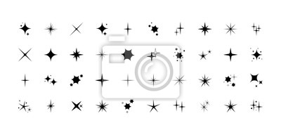 Bild Vector set of different black sparkles icons. Collection of star sparkles symbol. Design on white background.