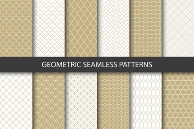 Bild Vector set of golden ornamental seamless patterns. Collection of geometric luxury modern patterns. Patterns added to the swatch panel.