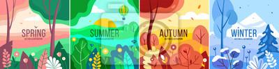 Bild Vector set of seasons illustrations. Spring, summer, autumn, winter - landscapes in a flat style.