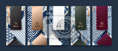 Bild Vector set packaging templates japanese of nature luxury or premium products.logo design with trendy linear style.voucher, flyer, brochure.Menu book cover japan style vector illustration.