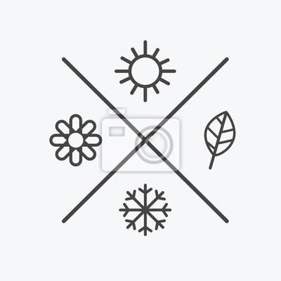 Bild Vector set vier Jahreszeiten Symbole. die Jahreszeiten Winter Frühling Sommer Herbst. Flachen Stil, einfache Linien Elemente. Wettervorhersage. Sonne, Blume, Schneeflocke, Blattsymbole
