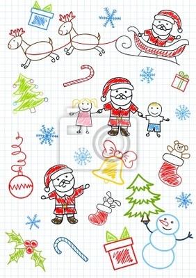 Vector sketchs - Santa Claus und Kinder