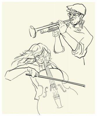 Bild Vector Skizze der Musiker.