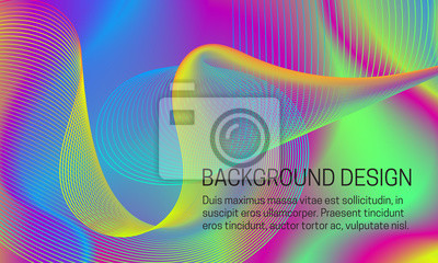 Vector smooth iridescent background with chaotic swirling guilloche element.