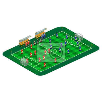 Vector soccer or football field illustration with abstract team