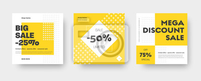 Bild Vector square web banner templates for big and mega sale with yellow square elements.