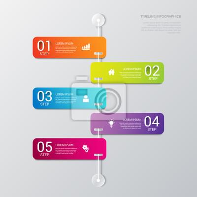 Vector timeline prozessschritte etiketten vorlage hintergrund ...