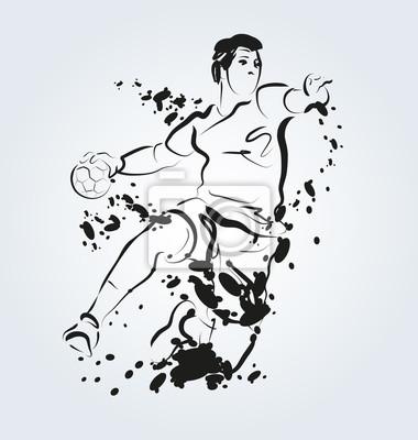 Vector Tusche Illustration der Handballspieler