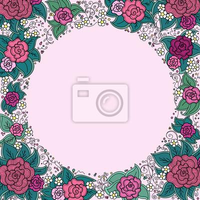 Bild vector varicolored floral round ornamental frame