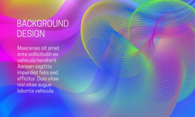 Vector vibrant background with ethereal amplitude and multicolor guilloche element.