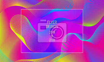 Vector vibrant background with iridescent guilloche elements. Template for flyer backdrop generation.