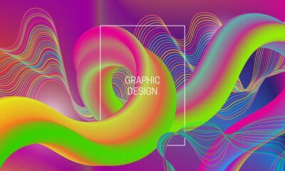 Vector vibrant design background with liquid flow shape and chaotic guilloche elements.