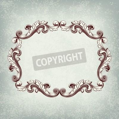 Bild Vector vintage border frame engraving with retro ornament pattern in antique baroque style decorative design grunge background