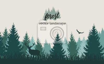 Bild Vector Vintage Waldlandschaft mit Blau- und Greeschattenbildern von Bäumen und von wilden Tieren