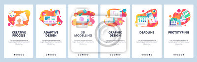 Bild Vector web site onboarding screens gradient template. Graphic design, prototyping, creative artist and 3d modelling. Menu banners for website and mobile app development. Modern design flat