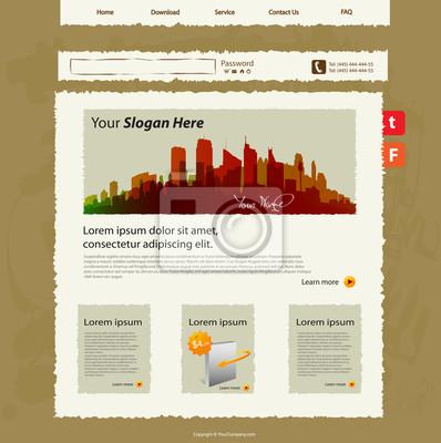 Vector Website-Vorlage, Hand-Skizze-Design