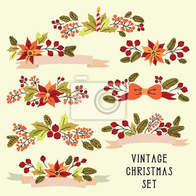 Vintage Bilder Weihnachten.Bild Vector Weihnachten Gesetzt Mit Vintage Blumen